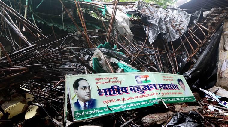 Ambedkar bhavana building was demolished last night  Dr. Babasaheb Ambedkar's family was strongly opposed at Ambedkar Bhavan.  Ambedkar's grandson Prakash Ambedkar  has condemned the incident and Anandaraj visiting the area in Dadar on Saturday. Express Photo By-Ganesh Shirsekar 25/06/2016